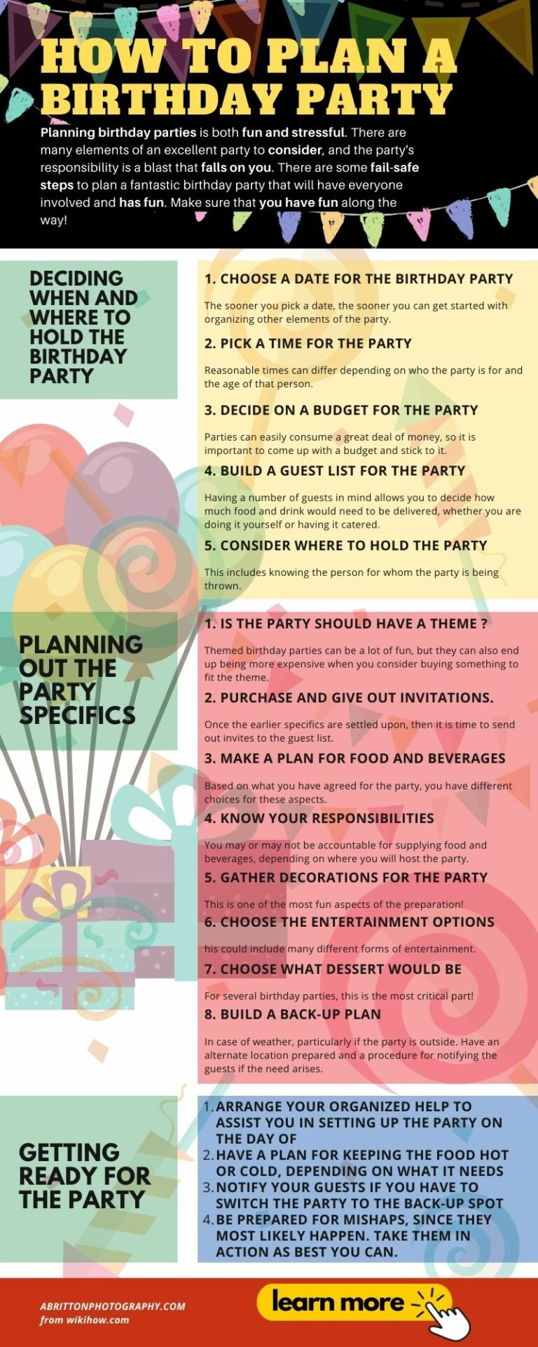 Infographic How to Plan a Birthday Party - Birthday Picture Ideas
