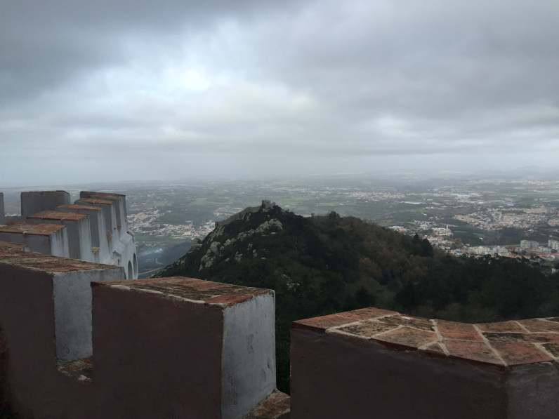 view of Castillo de Mouros from Pena National Palace Sintra Portugal