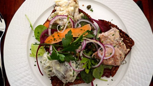 3 Types of Herring:  Mustard Herring, Wasabi Herring, and Herring Salad, served on Scandinavian rye