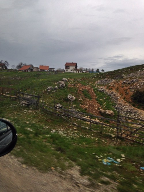 Beautiful Bosnian countryside, though we dared not step off the road to take pictures, because of the land mines.