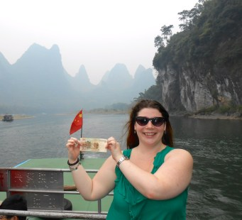 Visiting the Karst Mountains in YangShuo, China. They're on the back of the 20 RMB bill, which is what I'm holding.