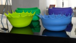 These kitchen bowls are made to look like drops of water. Just one of the many things for sale in 798.