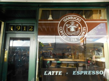 No trip to Pike Place Market is complete without a quick stop to the original Starbucks. Note the original logo, quite different from the green one we see today.