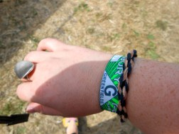 My handmade leather bracelet goes rather well with my Glastonbury wristband, don't you think?