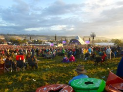 A crowd gathers for Elbow at the Pyramid Stage.