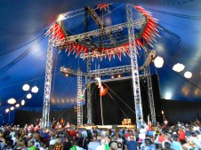 Trapeze artists and a flying violinist in the T&C tent