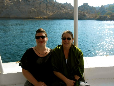 Mom and I take a short boat ride to Philae Temple.