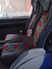 Flat Agnes chillin' in the bus from Dublin to Galway