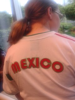 Kate C. rocking her Mexico shirt (though she is actually American)