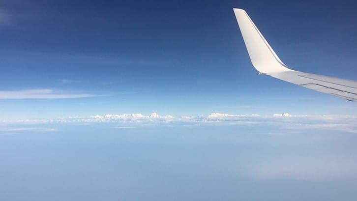 A view of the snow capped Himalayas before flying into Kathmandu Airport