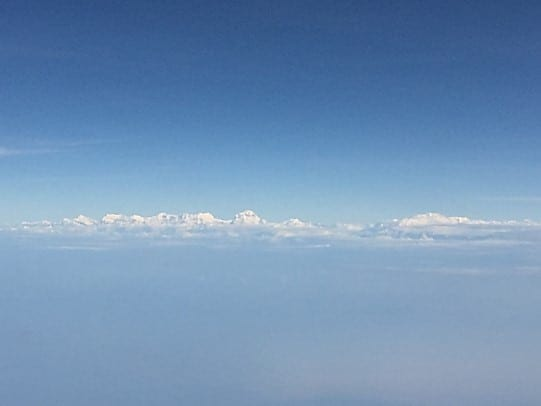 A View of the Himalayas flying into Kathmandu (www.abrotherabroad.com)