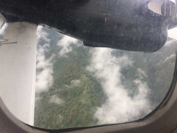A view out of the window during descent into Lukla Airport