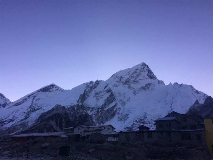 A view of Gorak Shep pre-dawn,before a hike to the top of Kala Patthar for a view of Mount Everest at sunrise