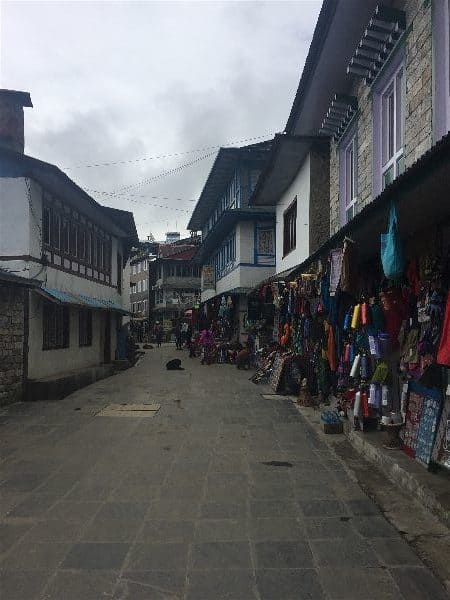 Tiny Lukla town sits next to Lukla Airport and exists solely for last minute gear purchases, trekker registration, and respite for weary, hikers returning from the Everest Base Camp Trek