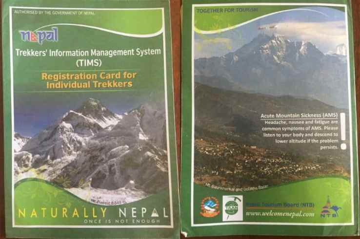 The Trekker Information Management System (TIMS) registration card. Do not lose this! You'll need it throought the Everest Base Camp Trek and to leave the Sagamartha National Park