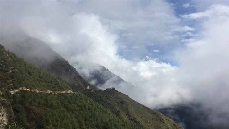 The Everest Base Camp Trek trail leaving Namche Bazaar toward Tengboche and the Tengboche Monastery