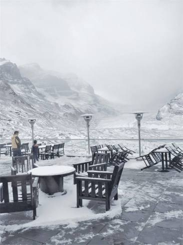 A snowy scene from the terrace of the Glacier View Inn, overlooking Athabasca Glacier