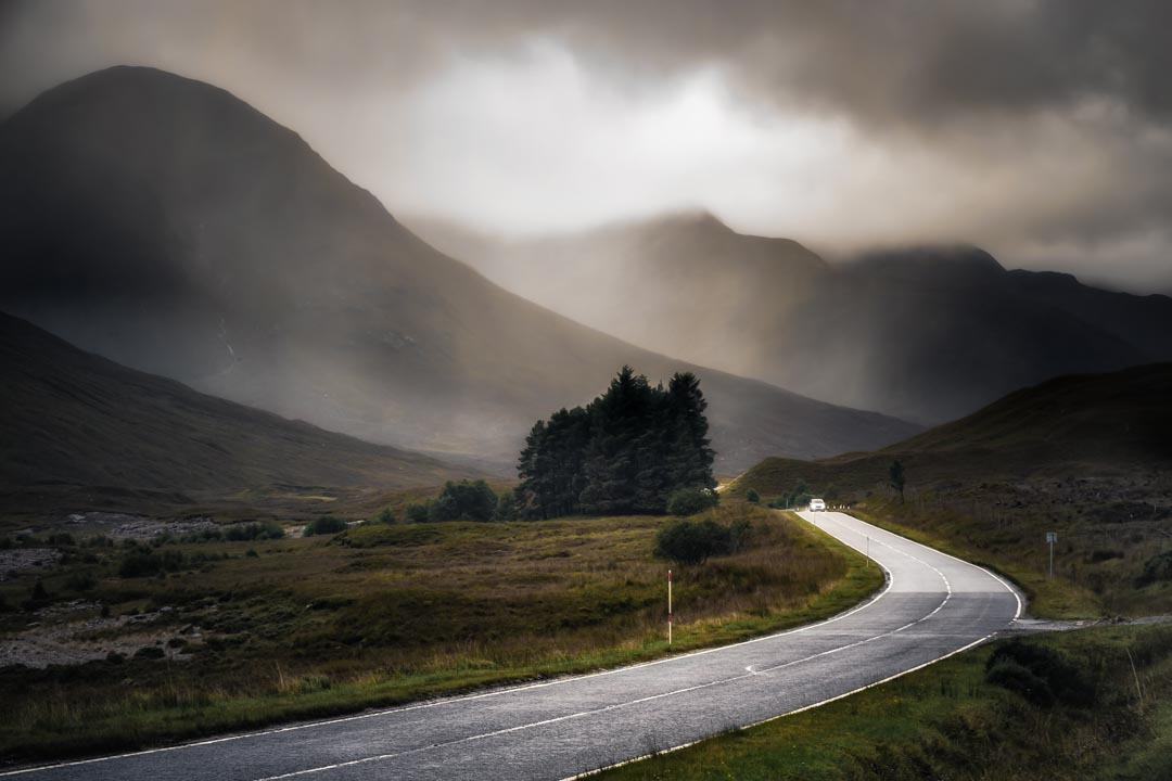 Isle of Skye, mountains in the mist, winding country road