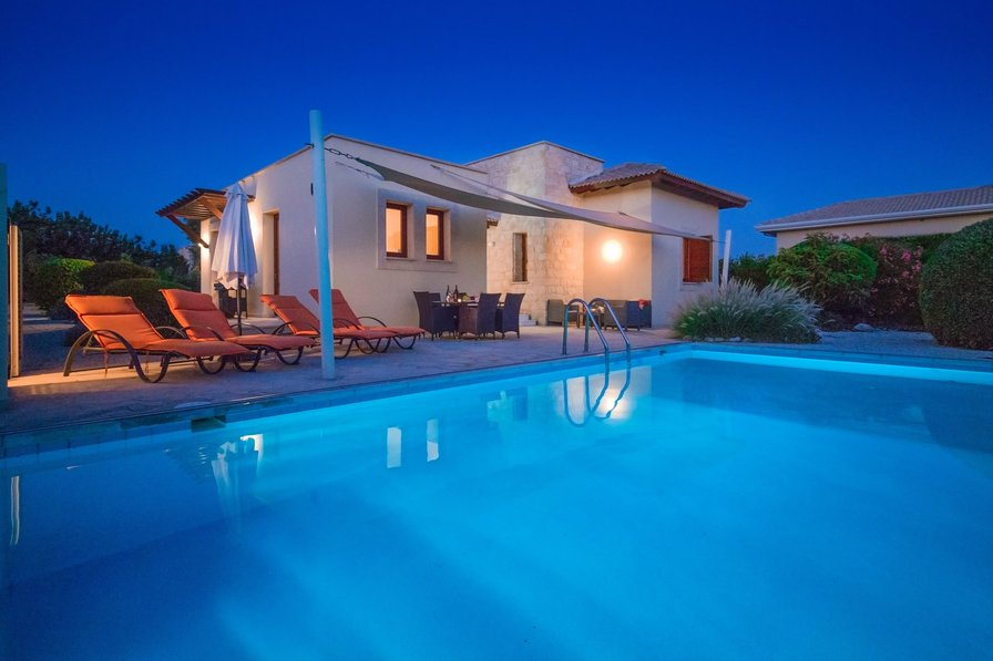 Villa exterior, nightime, swimming pool, Paphos, Cyprus