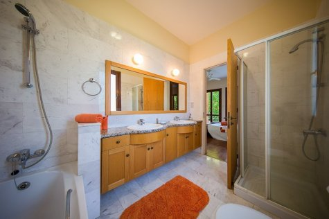 Villa interior, bathroom, his and hers sinks, Paphos, Cyprus