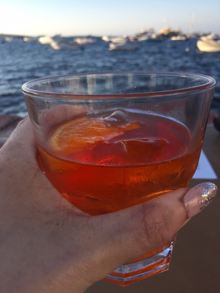 Aperol Spritz,cocktail, drinks overlooking harbour