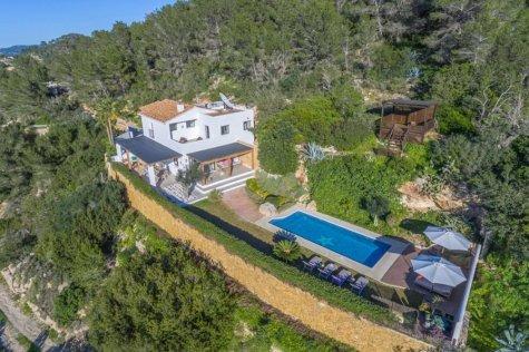 overhead view of villa and pool, Ibiza