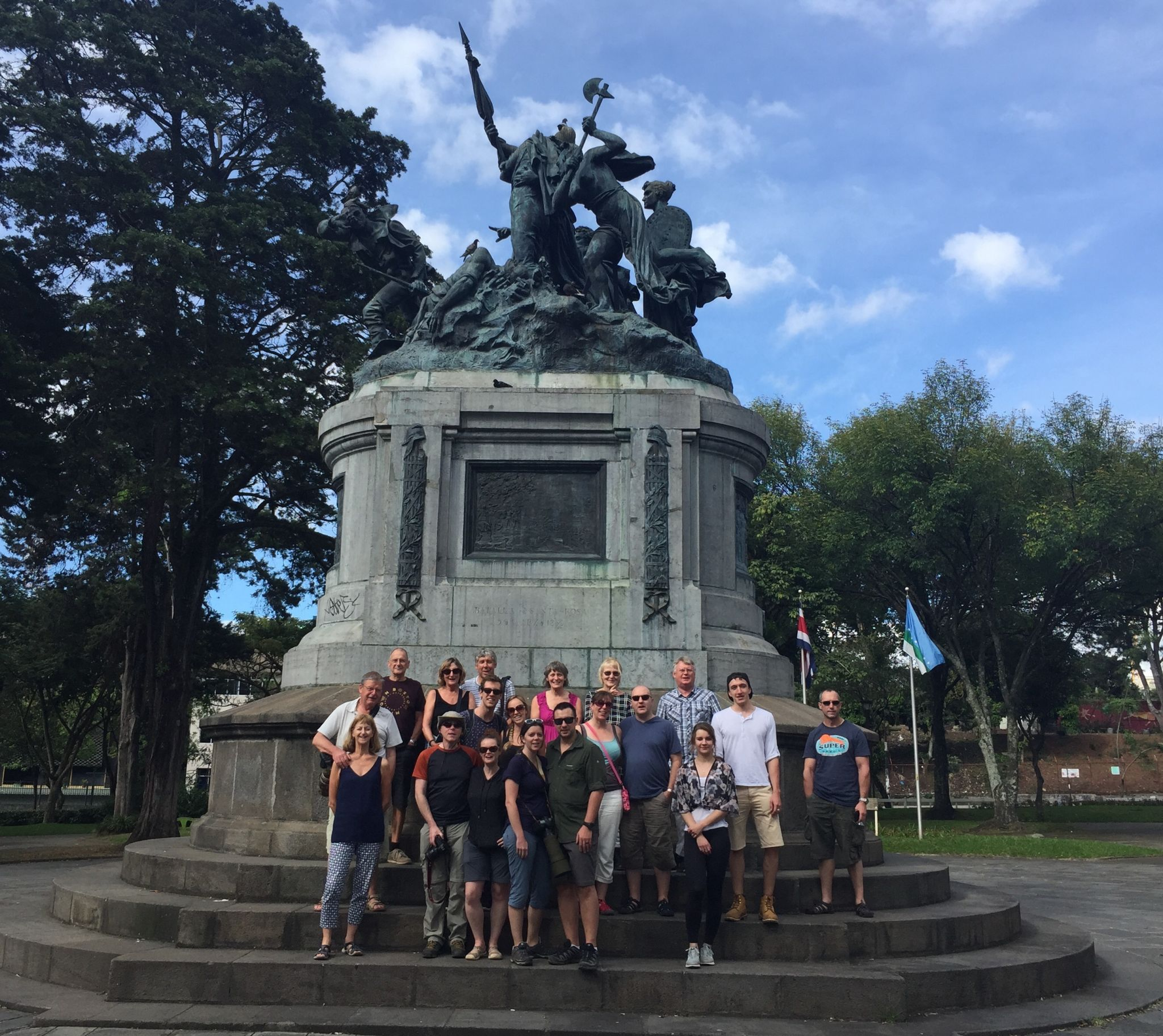 Costa Rica Travel Diaries: Do You Know the Way to San Jose? A Grand Tour group photo in Parque Nacional, San Jose