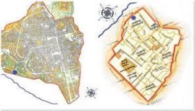 La mappa catastale dell'Aquila sembrerebbe l'immagine speculare dello stesso tipo di rappresentazione cartografica dell' antica Gerusalemme.