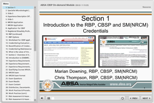 Introduction & Overview of ABSA's Certified Biosafety Professional (CBSP) Credential