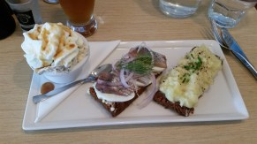 Rye bread ice cream (awesome), herring and hard boiled egg, and mashed white fish w/ scrambled egg