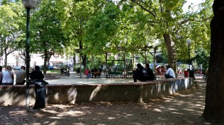 The market is on a square where the work crowd hangs out for lunch.
