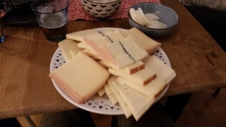 Christophe and Maude had us over for raclette. What's raclette? Well, you take this pile of cheese...