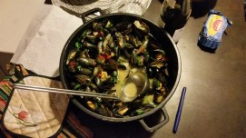 Heralding Greg's arrival with some mussels from our local seafood market.