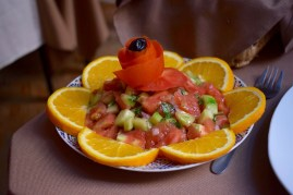 Fresh salad garnished with Moroccan oranges