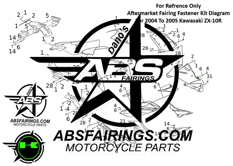 Fairing Fastener Kit For Kawasaki 2004 To 2005 ZX-10R