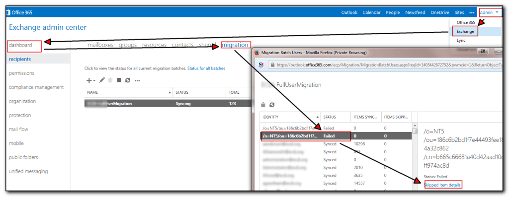 Viewing Migration status in Office365
