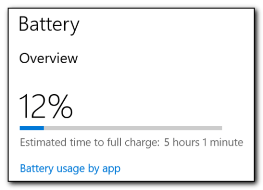 Battery charging indicator