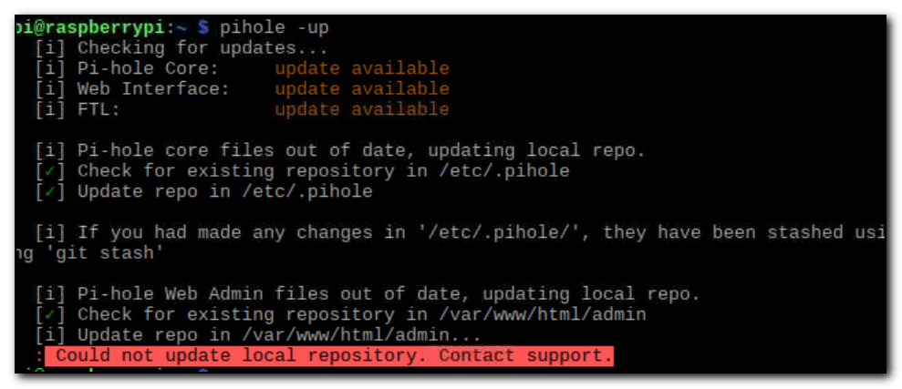 pihole -up gives a Could not update repository. Contact support error message