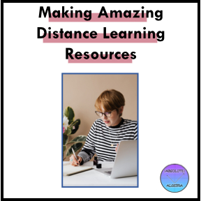 Distance learning resources, woman taking notes and working on laptop