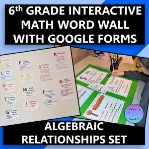 6th Grade Math Word Wall Algebraic Relationships