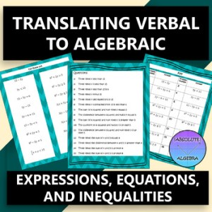 Translating Verbal to Algebraic Expressions Equations and Inequalities