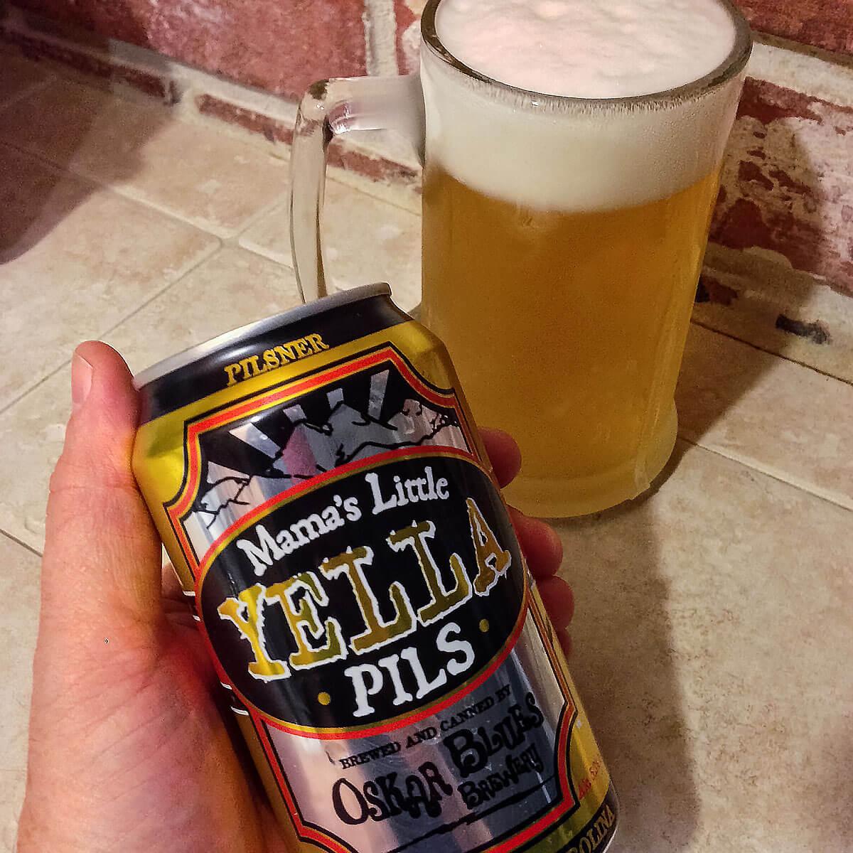 Mama's Little Yella Pils, a Czech-style Pilsener by Oskar Blues Brewery
