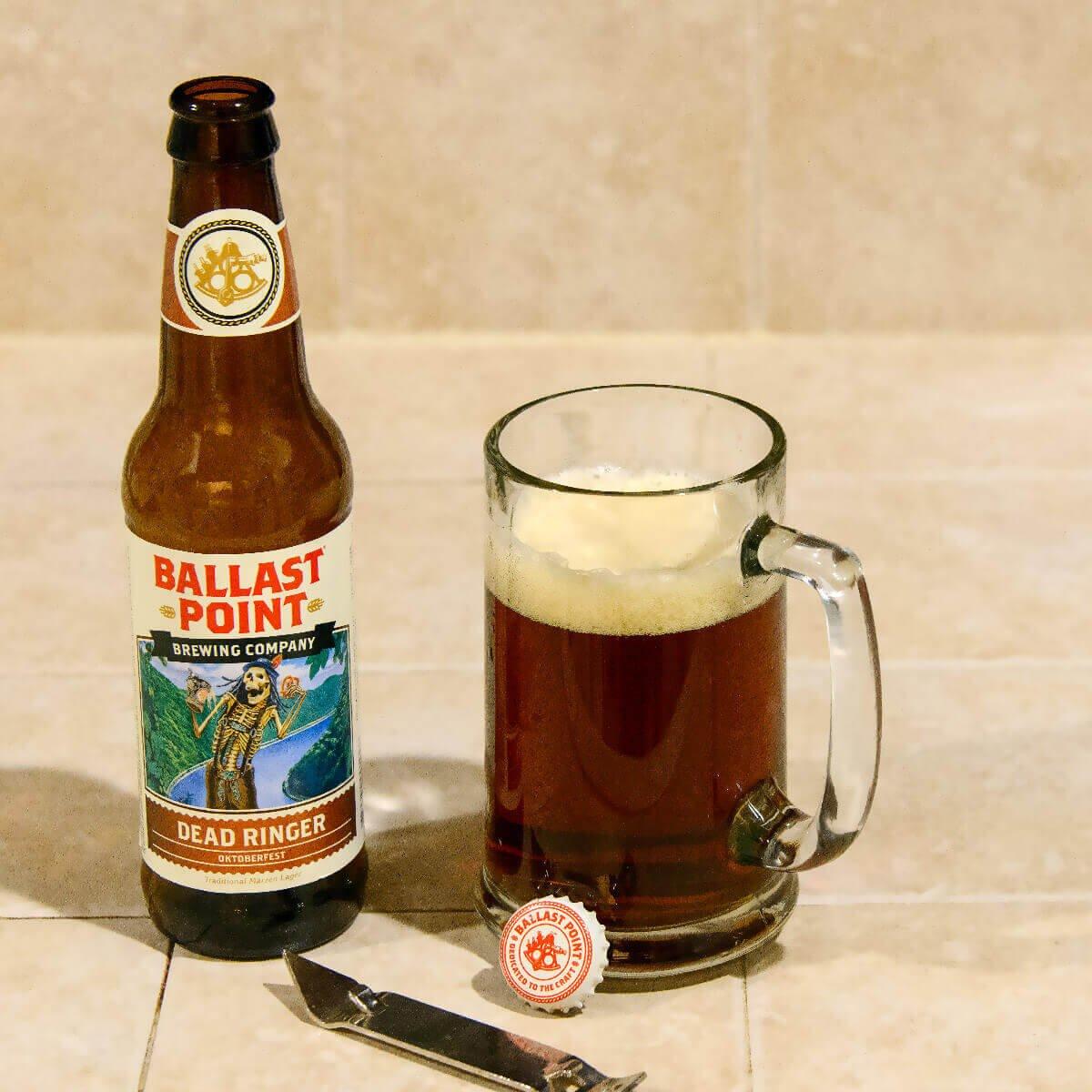 Dead Ringer Oktoberfest brewed by Ballast Point Brewing Company.