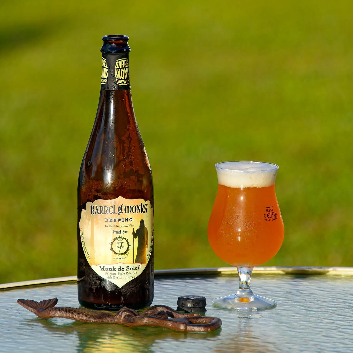 Monk de Soleil, a Belgian-style Pale Ale collaboratively brewed by Barrel of Monks Brewing and 7venth Sun Brewery