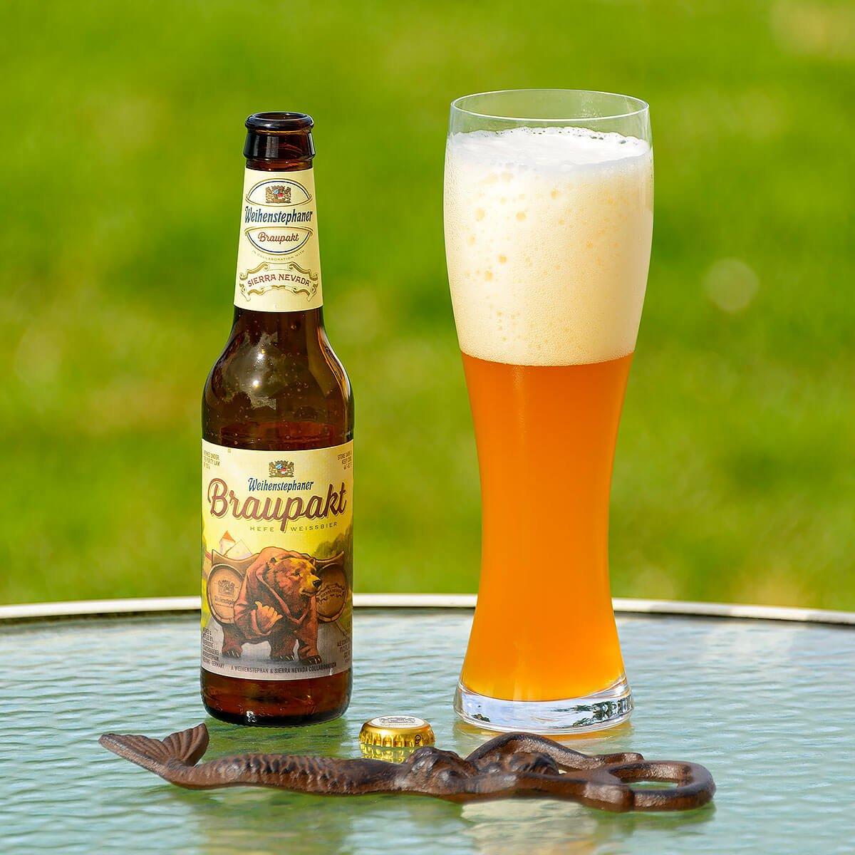 Braupakt, a German-style Hefeweizen collaboratively brewed by Bayerische Staatsbrauerei Weihenstephan and American craft brewing giant Sierra Nevada Brewing Co.