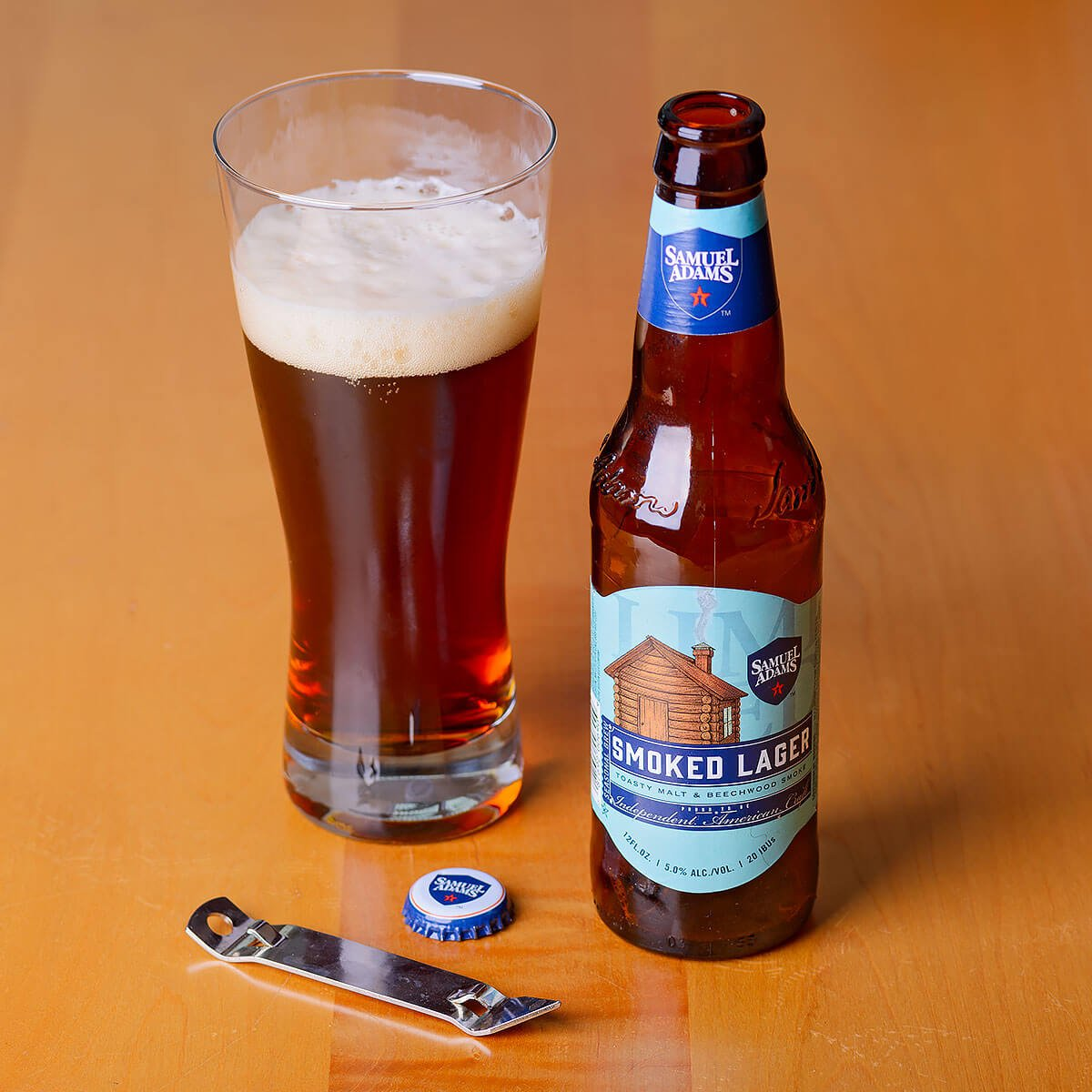 Samuel Adams Smoked Lager, a German-style Rauchbier by the Boston Beer Company