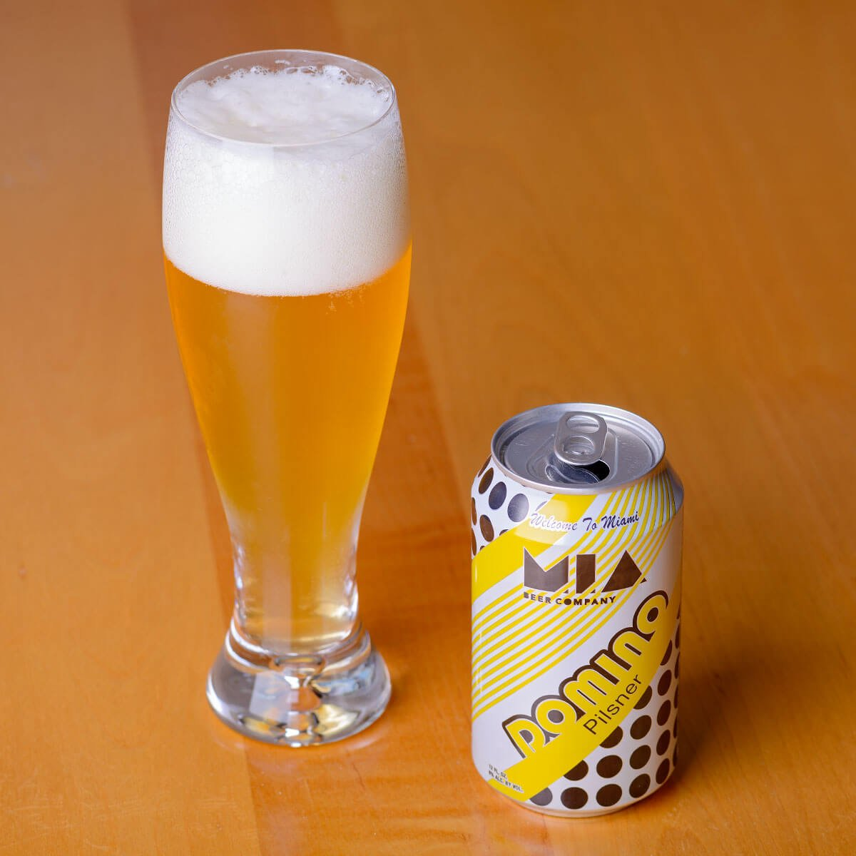 Domino, a German-style Pilsener brewed by MIA Beer Co.