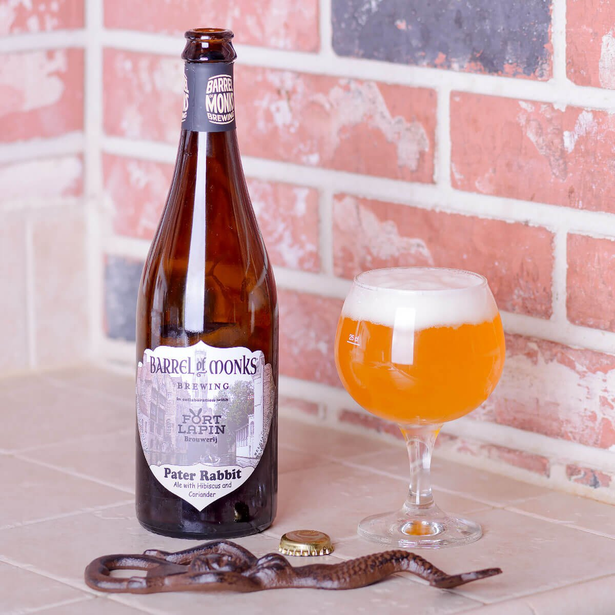 Peter Rabbit, a Belgian Tripel collaboratively brewed by Barrel of Monks Brewing and Fort Lapin Brouwerij