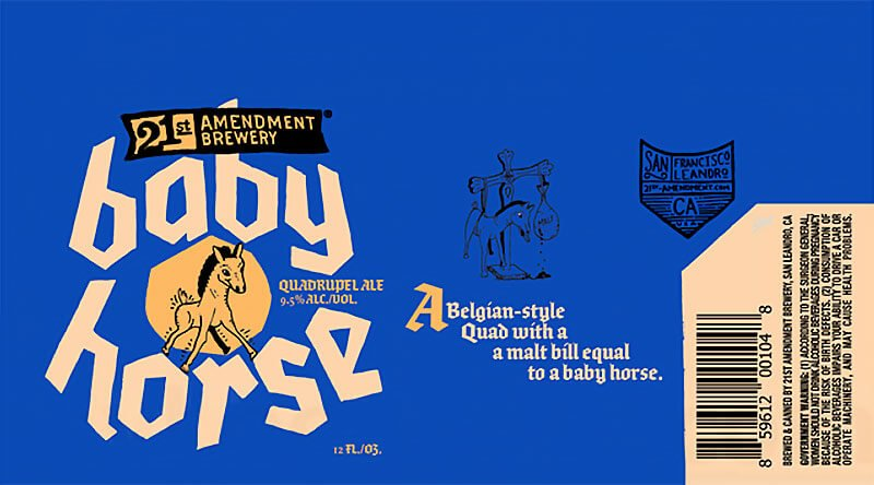 Label art for the Baby Horse by 21st Amendment Brewery