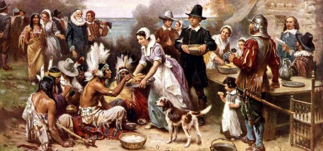 The First Thanksgiving, 1621, Jean Leon Gerome Ferris